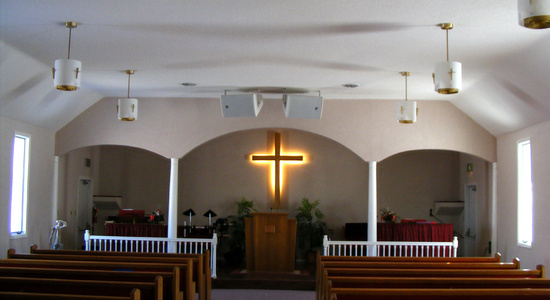 Church Sanctuary Audio and Theatrical Lighting<br> Stylus AV Technologies, Bluffton, Indiana